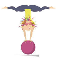 smiling young woman do exercises with the ball iso vector image vector image