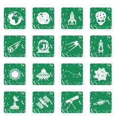 Space icons set grunge vector