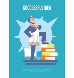 Successful idea banner with businessman vector