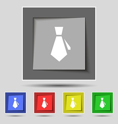 tie icon sign on original five colored buttons vector image vector image