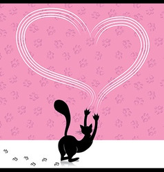 Valentine day cat scratching heart wall with anima vector image vector image