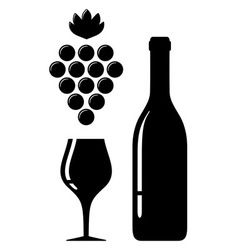 Wine glass and bottle silhouette vector