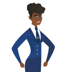 Young african-american angry stewardess screaming vector