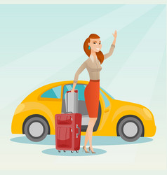 Young caucasian woman waving in front of car vector