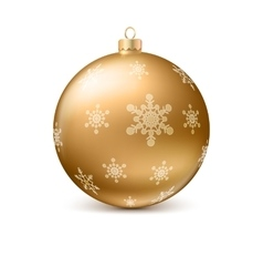 Gold christmas ball with snowflackes vector