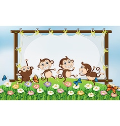 Frame design with four monkeys in field vector image