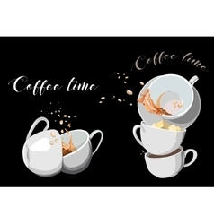 Coffee and tea cups set eps10 vector