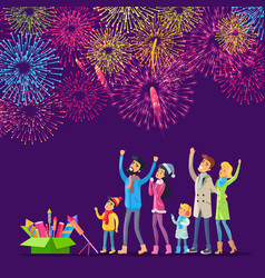 fireworks adults and children watching salutes vector image