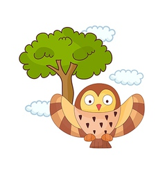 An owl with tree vector image