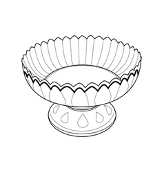 Tray with pedestal out line vector