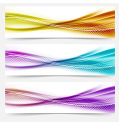 Bright abstract wave footers with lines vector