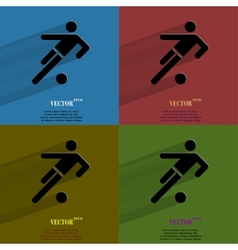 Color set football player flat modern web button vector