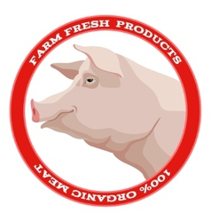 Pig label red vector