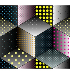 Colors dots on black geometric cubes vector