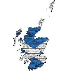 Scotland map on a brick wall vector
