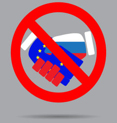 Ban sign cooperation european union and russia vector