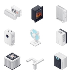 Home climate equipment isometric icon set vector