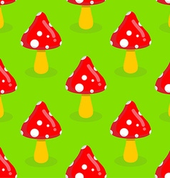 Amanita seamless pattern red mushroom with white vector