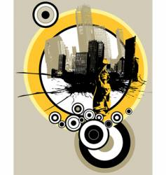 city with circles vector image