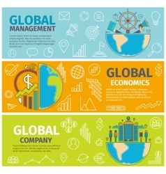 Banners global management economics company vector