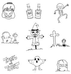 Flat halloween character doodle vector