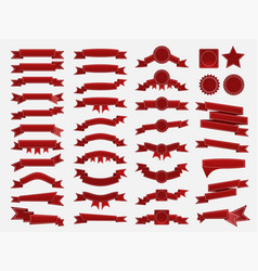Big set of embroidered red ribbons and stumps vector