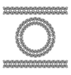 Black scythian border and circle frame vector