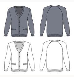 Blank long sleeve grey raglan cardigan vector