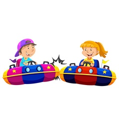 Boy and girl playing bump cars vector