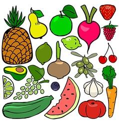 Cartoonish fruits and vegetables vol 2 vector