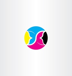 cmyk printing icon butterfly logo symbol vector image vector image