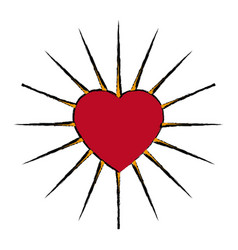 comic heart love decoration emblem vector image