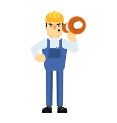 Construction manager in uniform with megaphone vector