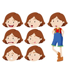 Cute girl with many expressions vector image vector image
