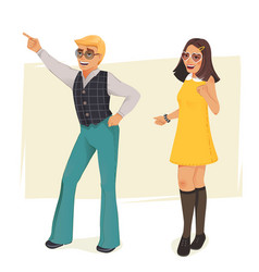 Dancing people in retro style vector