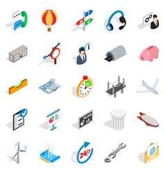 Elaboration icons set isometric style vector