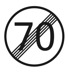 End maximum speed limit 70 sign line icon vector