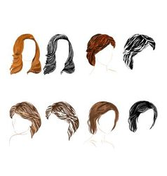 Hair natural and silhouette vector image