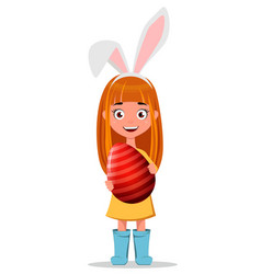 Happy easter greeting card young smiling redhead vector