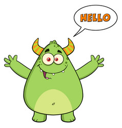 Happy horned green monster cartoon character vector