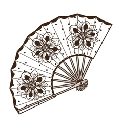 Ladys fan with pattern vector image