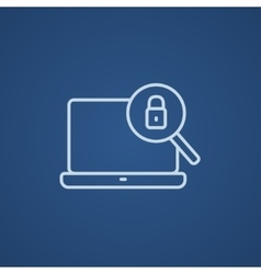 Laptop and magnifying glass line icon vector image