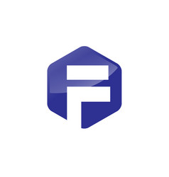 letter f hexagon logo vector image