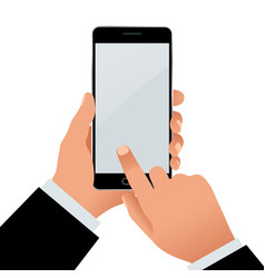 Male hand holding a phone with blank screen flat vector