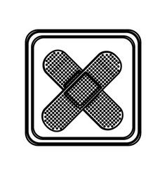 monochrome contour of button with crossed adhesive vector image vector image