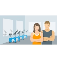Personal fitness trainers man and woman in gym vector image