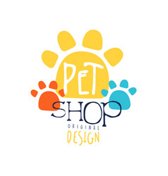 pet shop logo template original design colorful vector image vector image