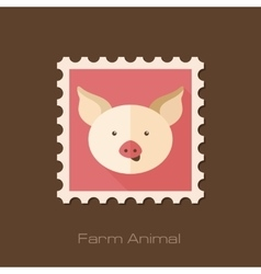 Pig flat stamp animal head vector
