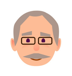 positive old man in glasses face flat icon vector image