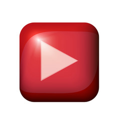Red glossy realistic play button with light flare vector